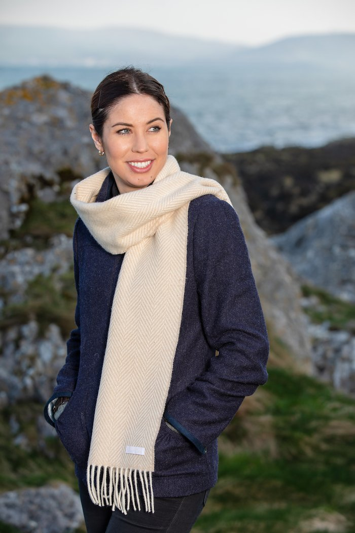 Bone and White Herringbone Cashmere Scarf