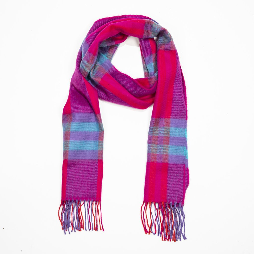 100% Merino Scarf - Pink, Aqua & Red check
