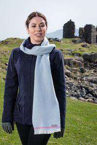 Willow Blue & Cerise Lambswool Scarf. Product thumbnail image